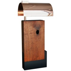 Gemini, Bauhaus Inspired Contemporary Table Lamp in Solid Walnut and Copper