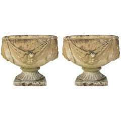 Antique French Cast Stone Urn Planter Pair with Swag and Fruit Detail