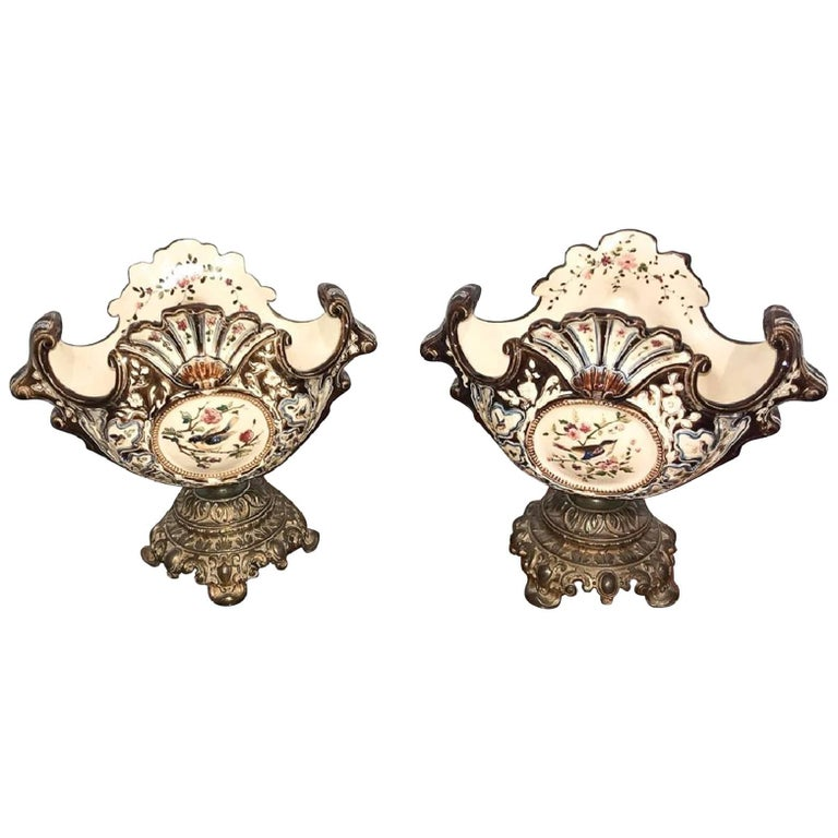Pair of Antique French Majolica Jardineres For Sale