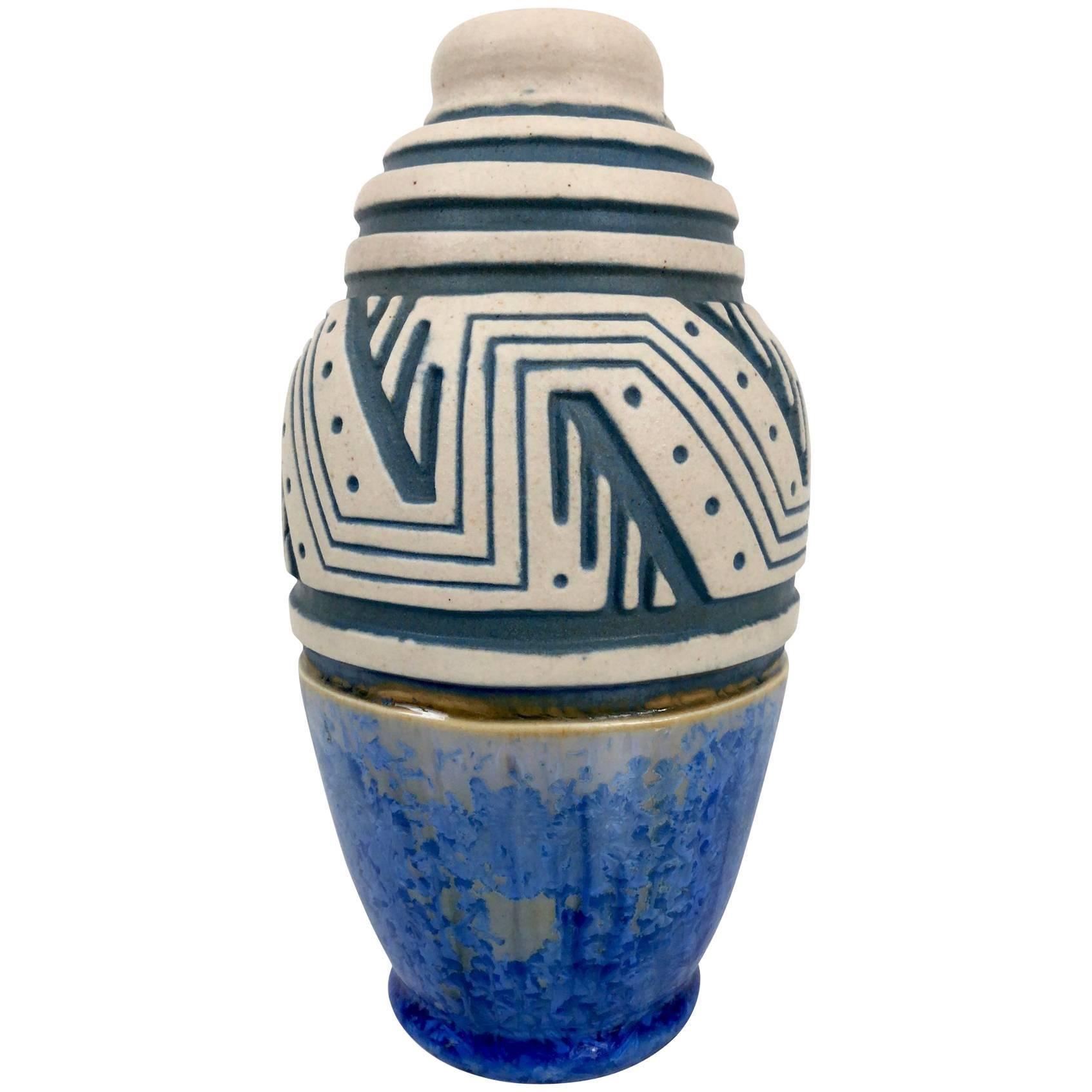Glazed Ceramic Vase by Mougin, Art Deco, France, 1930s