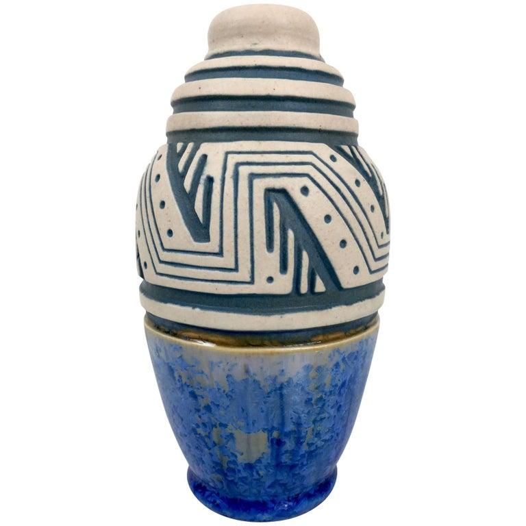 Glazed Ceramic Vase by Mougin, Art Deco, France, 1930s For Sale