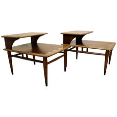 "Pair of Mid-Century Modern Andre Bus for Lane ""Acclaim"" Two-Tiered End Tables"