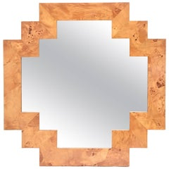 Italian Burled Elm Wood Geometric Mirror