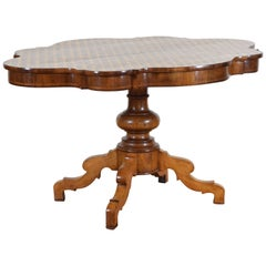 Italian, Lombardy, Walnut and Marble Parquetry Veneered Table, circa 1840-1850