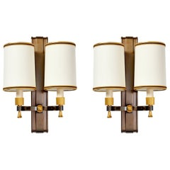 Stunning Pair of Maxime Old Gilt and Oxidized Bronze Sconces