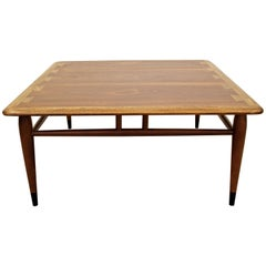"Mid-Century Modern Andre Bus Lane ""Acclaim"" Walnut Oak Square Coffee Table"