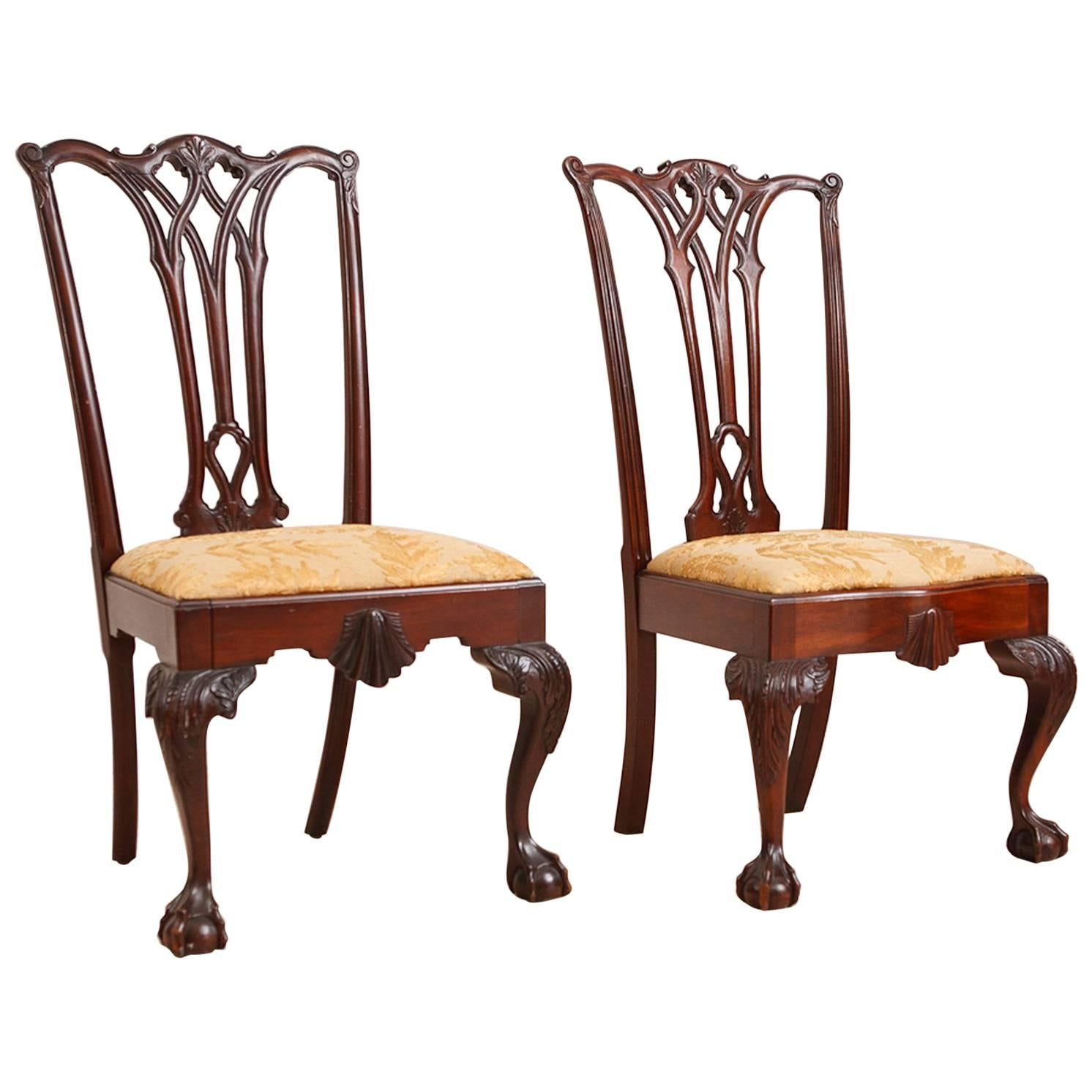 Pair Of Centennial Philadelphia Chippendale Style Chairs In Mahogany, Circa  1870