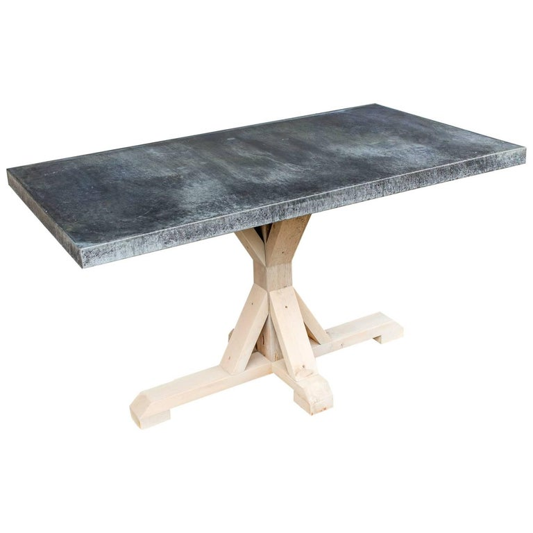 Galvanized Zinc Metal Top Dining Table With Wood Base For