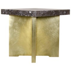 Quad Brass Table with Smoke Crystal Top by Robert Kuo, in Stock, Limited Edition