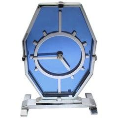 English 1930s Art Deco Blue Glass and Chrome Modernist Clock