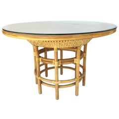 Leather Rattan Bamboo Round Dining Table in the Manner of Brown Jordan