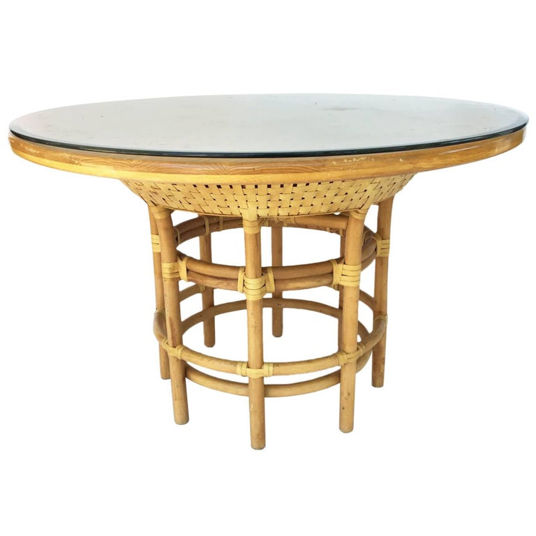 219e3c2fc148f Leather Rattan Bamboo Round Dining Table in the Manner of Brown Jordan For  Sale