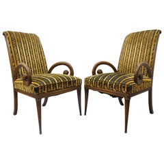 Pair of Grosfeld House Mahogany Armchairs Plume Feather Carved Hollywood Regency