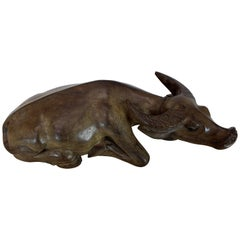 Large Carved Wood Sculpture of a Water Buffalo