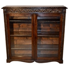 19th Century Oak Bookcase with Glazed Doors