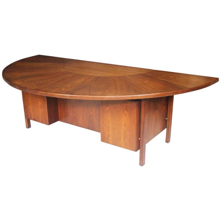 Spectacular Mid-Century Modern Walnut Executive Desk with Sunburst Demilune Top