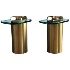 Pair of Mid-Century Modern Cylinder & Glass Sculpture Side Tables