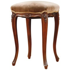 French Louis XV-Style Square Stool in Walnut with Upholstered Seat, circa 1900