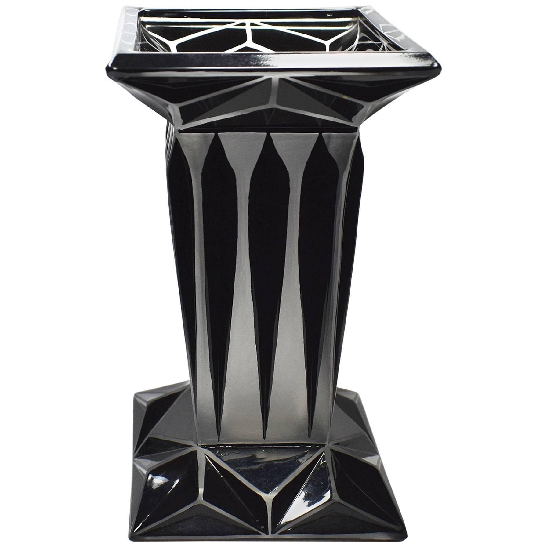 Art Deco Geometric Enamel Glass Vase by Karl Palda