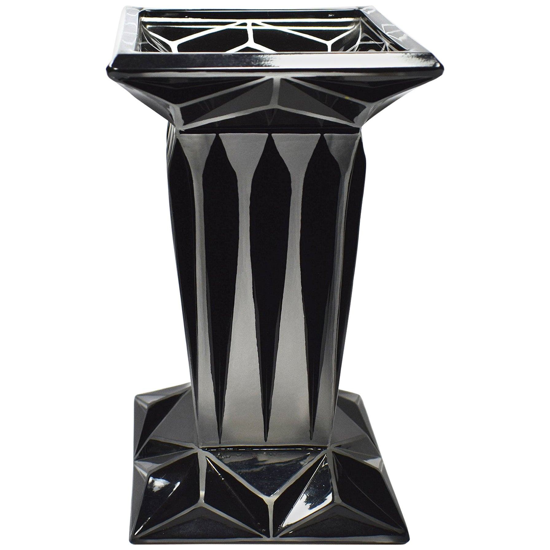 Art Deco Geometric Enamel Glass Vase by Karl Palda
