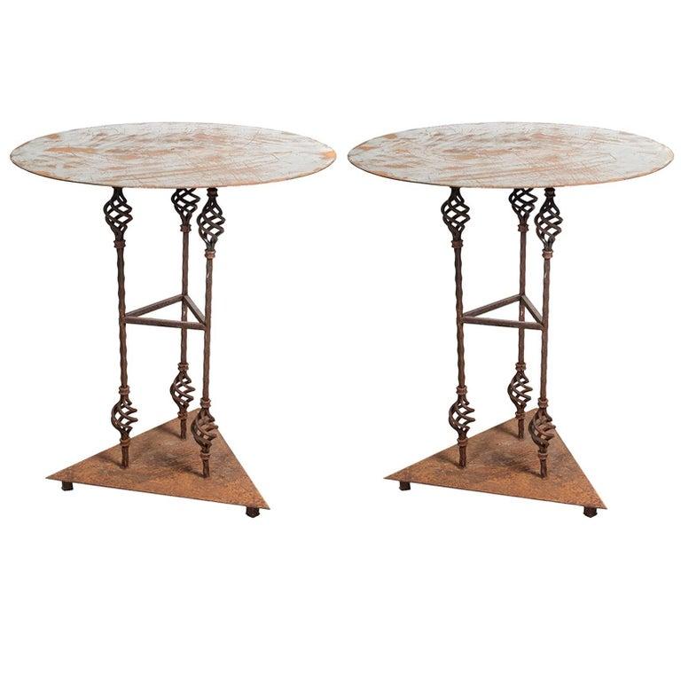 "Pair of Iron Garden Tables ""Gueridons"""