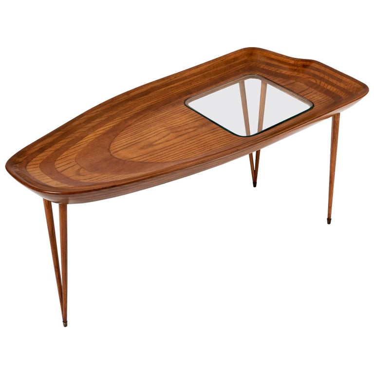 Exceptional Organic Coffee Table in Laminated Oak, Italy, 1950s For Sale