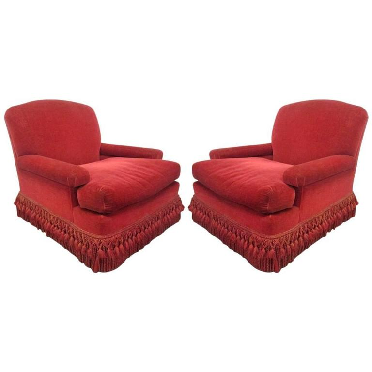 Pair of French Art Deco Club Chairs with Mohair Upholstery 1