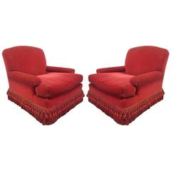 Pair of French Art Deco Club Chairs with Mohair Upholstery