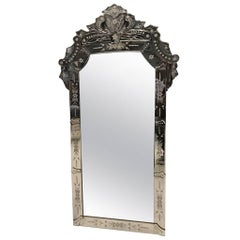 1940s Italian Venetian Beveled Glass Mirror