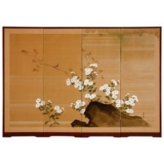 Japanese Four Panel Silk Byobu Screen of Chrysanthemums