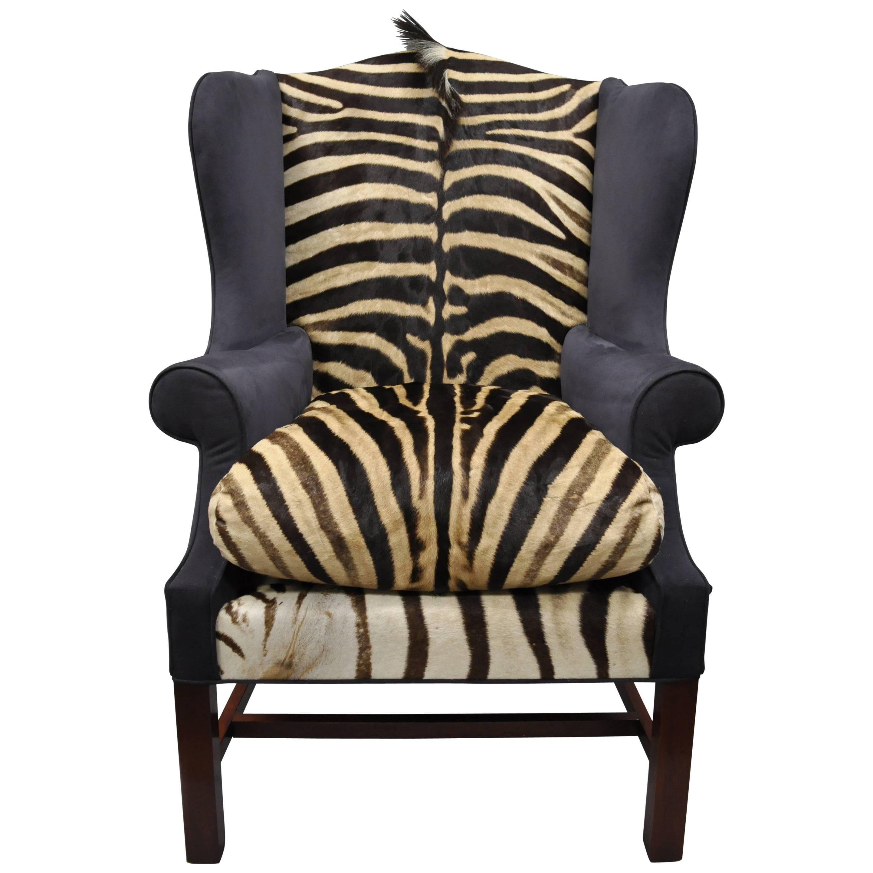 Zebra Hide And Blue Suede Upholstered Custom Mahogany Wingback Library Chair