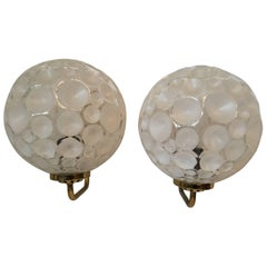 French Brass Crater Textured Glass Shade Sconces