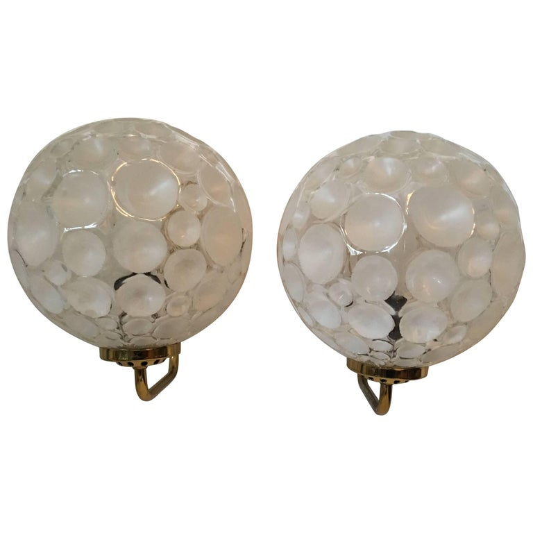 French Brass Crater Textured Glass Shade Sconces For Sale