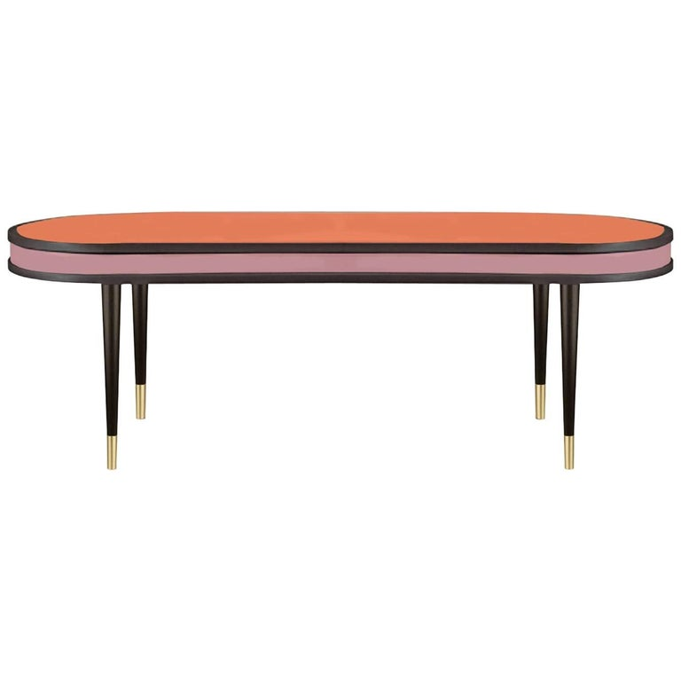 Dark Wenge and Lacquered Wood in Pink and Orange Dining Table Madagascar