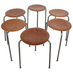 Set of Six Arne Jacobsen Dot Stacking Stools or Tables