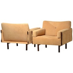 Pair of Jorge Zalszupin Lounge Chairs in Suede