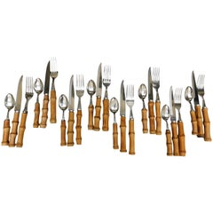 Vintage 24-Piece European Bamboo Handled Flatware Set of Eight Place Settings