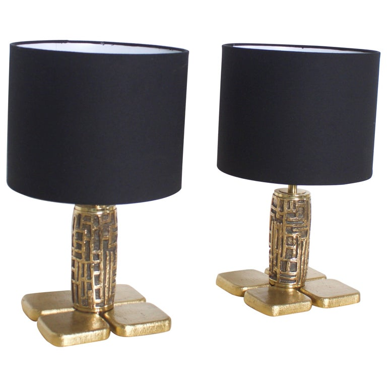 Pair of Brutalist Table Lamps Luciano Frigerio for Frigerio, Italy, 1970s For Sale
