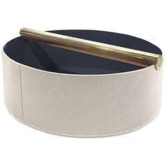 Contemporary Italian Leather & Swedish Brass Modern Minimalist Centerpiece Tray