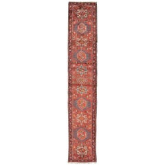 Narrow Midcentury Persian Karadjeh Runner in Soft Red with Geometric Design