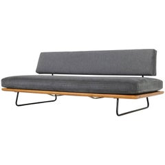 1950s Minimalist Daybed Beechwood & Steel Base, New Upholstery, Free Standing
