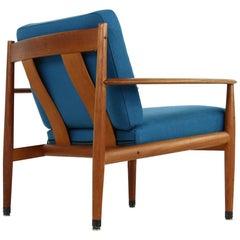 Danish Modern, 1960s Grete Jalk Teak Easy Chair by France & Son Denmark, Petrol