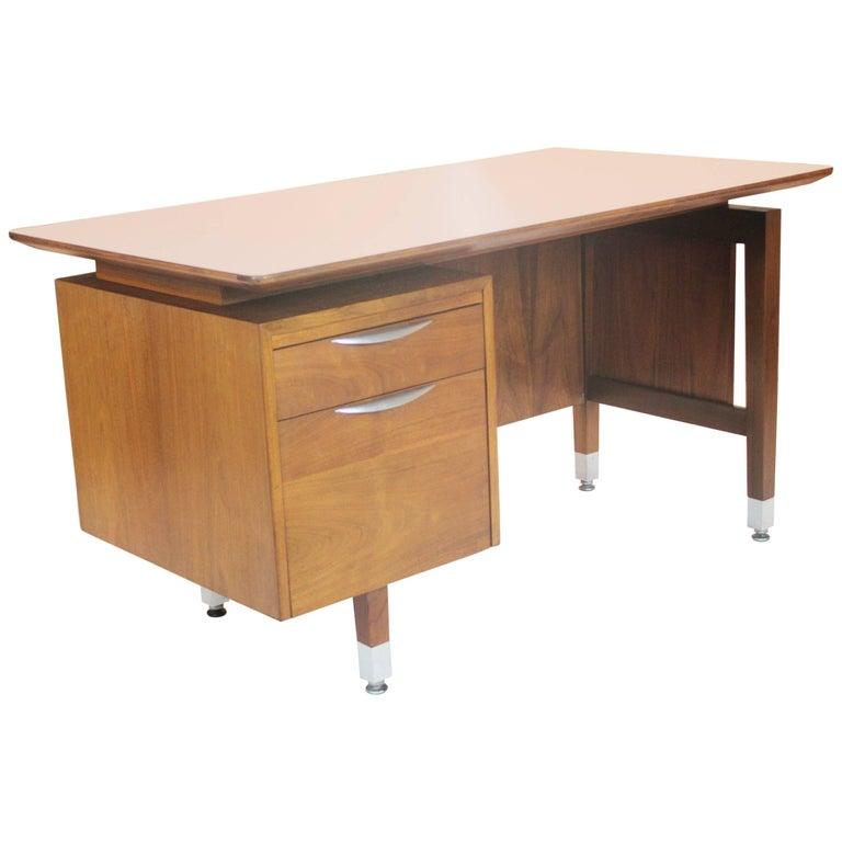 Wonderful, 1960s Mid-Century Modern Walnut Executive Desk by Thonet