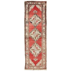 Medallion Oushak Runner from Turkey in Red, Brown, Cream, Olive Tones