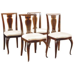 Set of Four Dining Chairs in Rosewood with Upholstered Seat, circa 1910