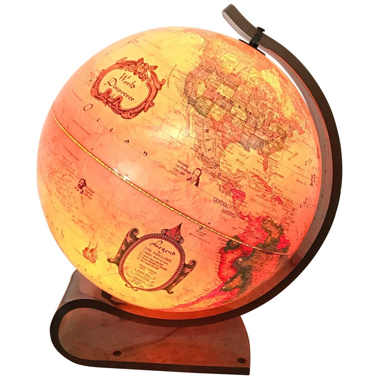 World Discover Light Up Globe with Lucite Stand, Great Britian, 1986