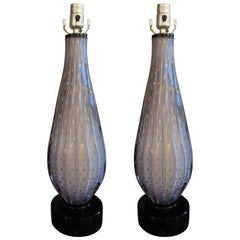 Pair of Lavender Murano Glass Lamps