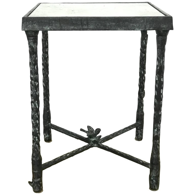 Ilana Goor Brutalist Bronze Side or End Table with Bird and Flower