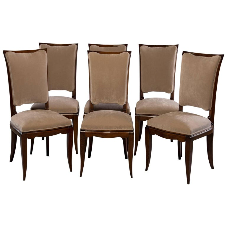 Set of Six Midcentury Italian Polished Walnut Dining Chairs For Sale