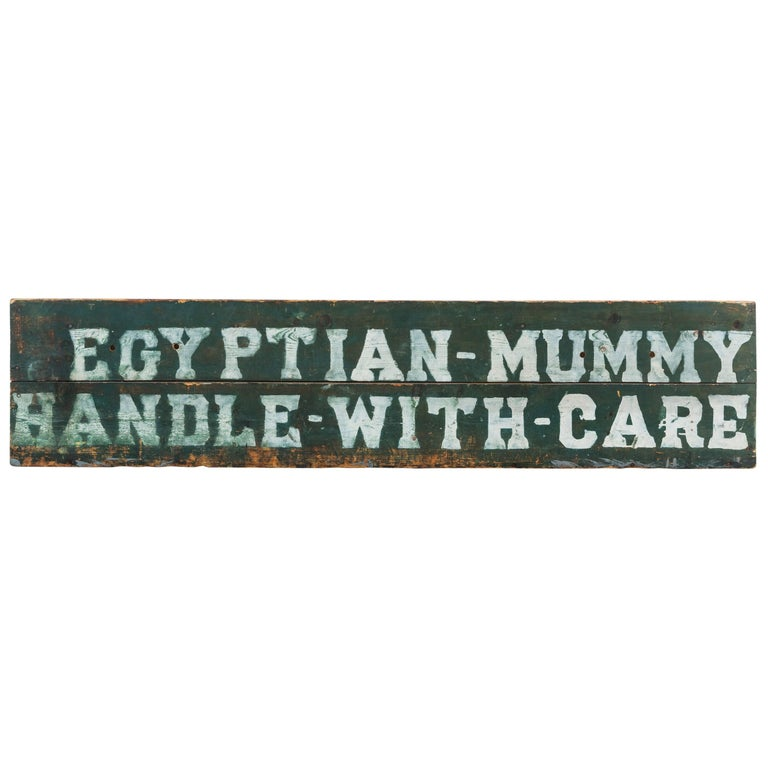 Early Carnival Midway Sideshow or Circus Prop Sign Egyptian Mummy Crate For Sale